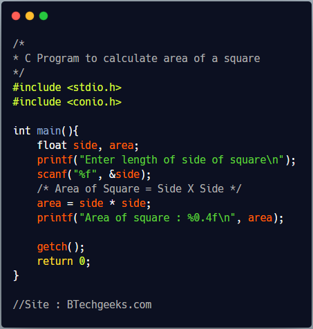 C Program to find the area of a square