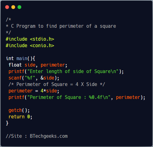 C Program to find the perimeter of a square