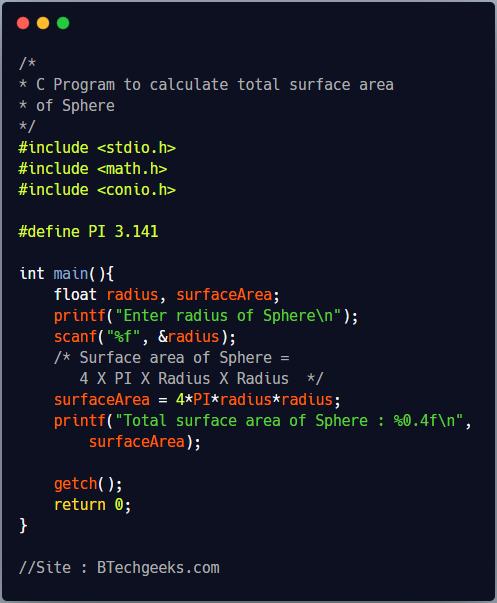 C Program to find total surface area of a sphere