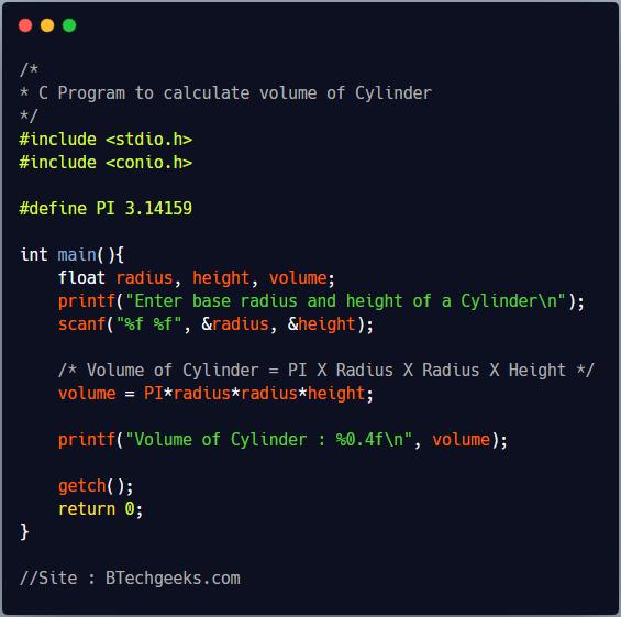 C Program to find volume of a cylinder