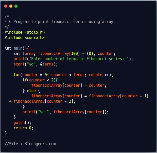 C Program to generate fibonacci series till Nth term and store it in array 1