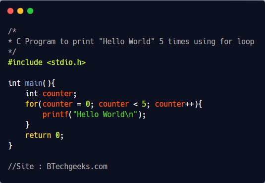 C Program to print Hello World multiple times using loop 1