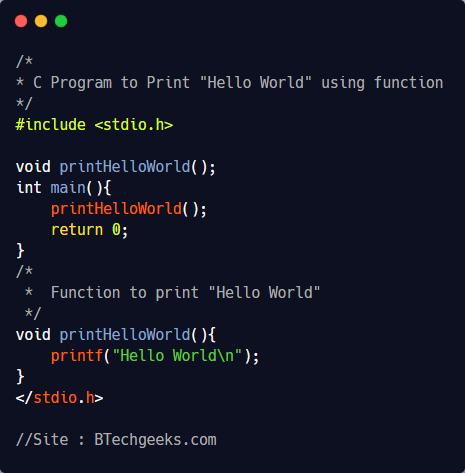 C Program to print Hello World using a function 1