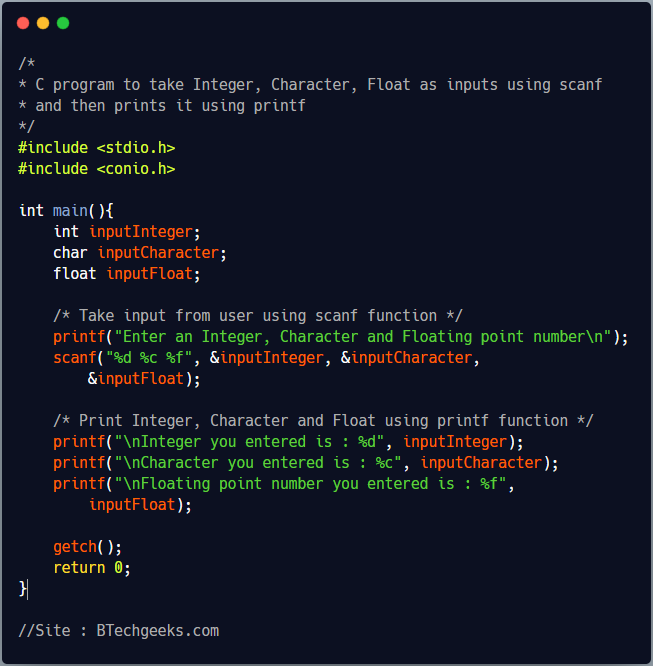 C Program to read and print an Integer, Character and Float using scanf and printf function 1