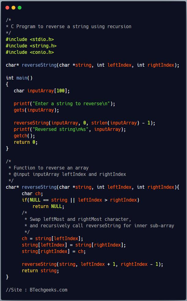 C Program to reverse a string using recursion