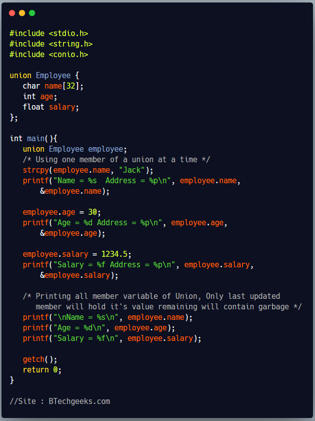 C Program to show the use of Union