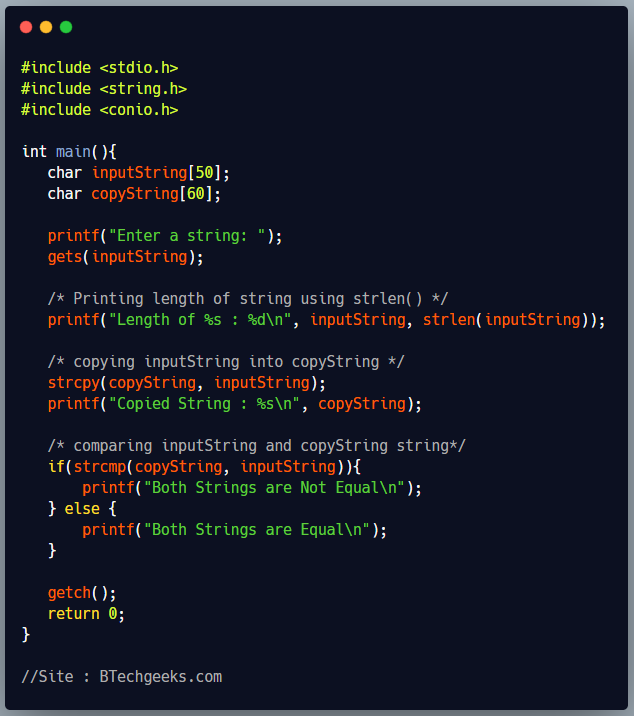 C Program to show the use of string handling functions of string.h header file