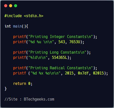 C Programming Constants and Literals