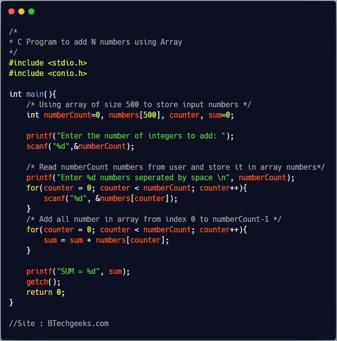 C program to calculate sum of N numbers using array 1