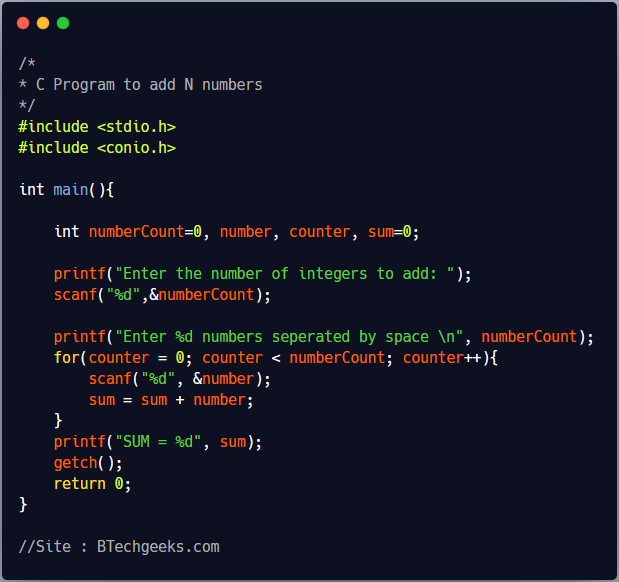 C program to calculate sum of N numbers using for loop and without using array 1