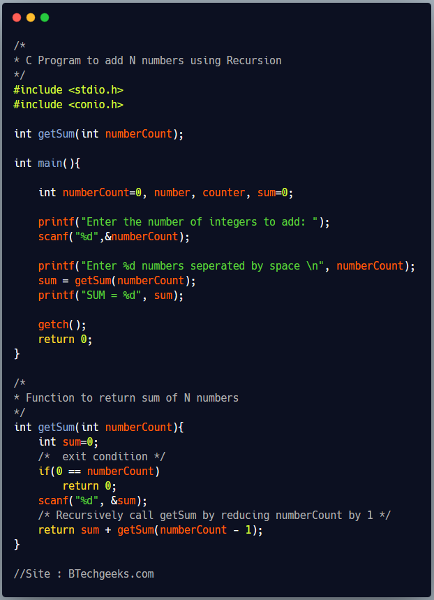C program to calculate sum of N numbers using recursion 1