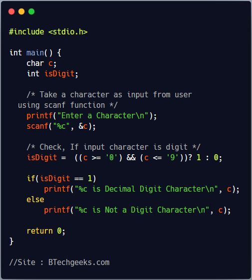 C Program to Check Whether a Character is Decimal Digit or Not using Conditional Operator