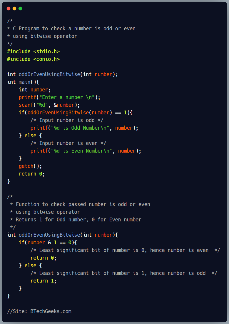 C program to check odd or even numbers using bitwise operator