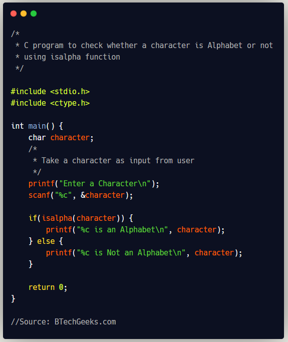 C program to check whether a character is alphabet or not using isalpha function