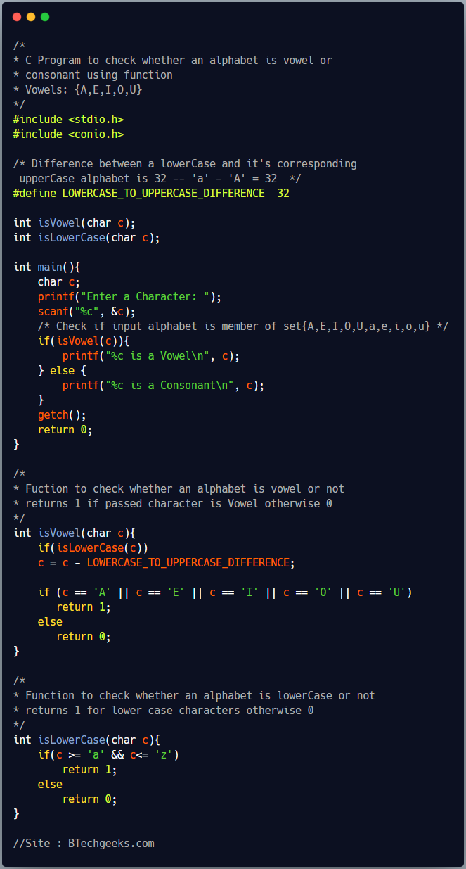 C program to check whether a character is vowel or consonant using function 1