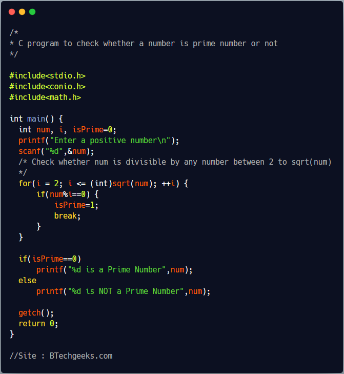 C program to check whether a number is prime number or not