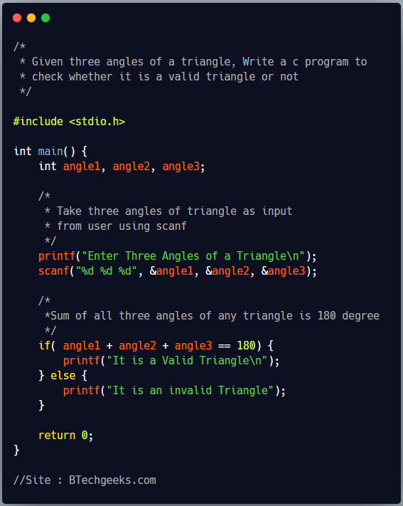 C program to check whether a triangle is valid, given sides of triangle 1