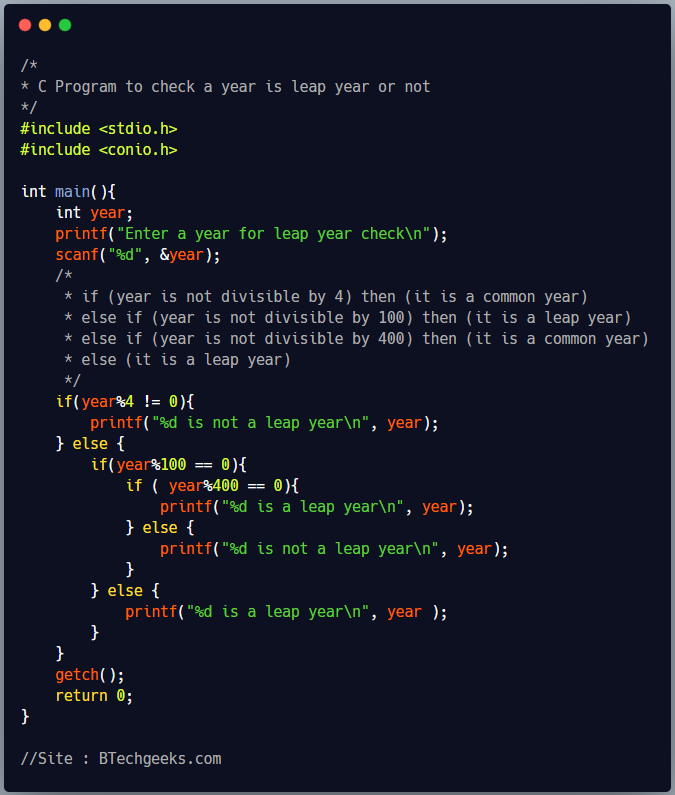 C program to check whether a year is leap year or not 1