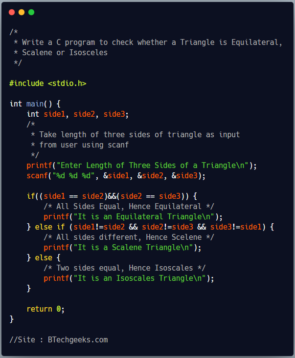 C program to check whether input triangle is equilateral, isosceles or scalene triangle