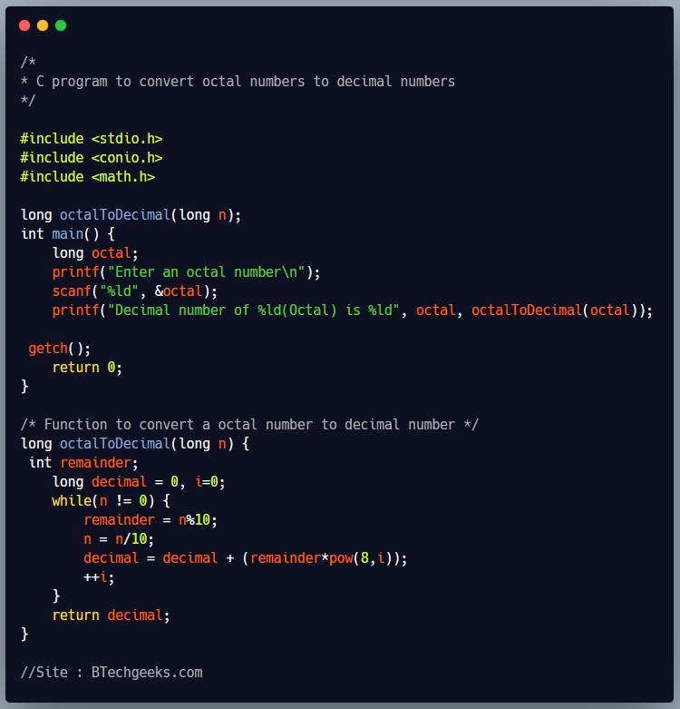 C program to convert a octal number to decimal number