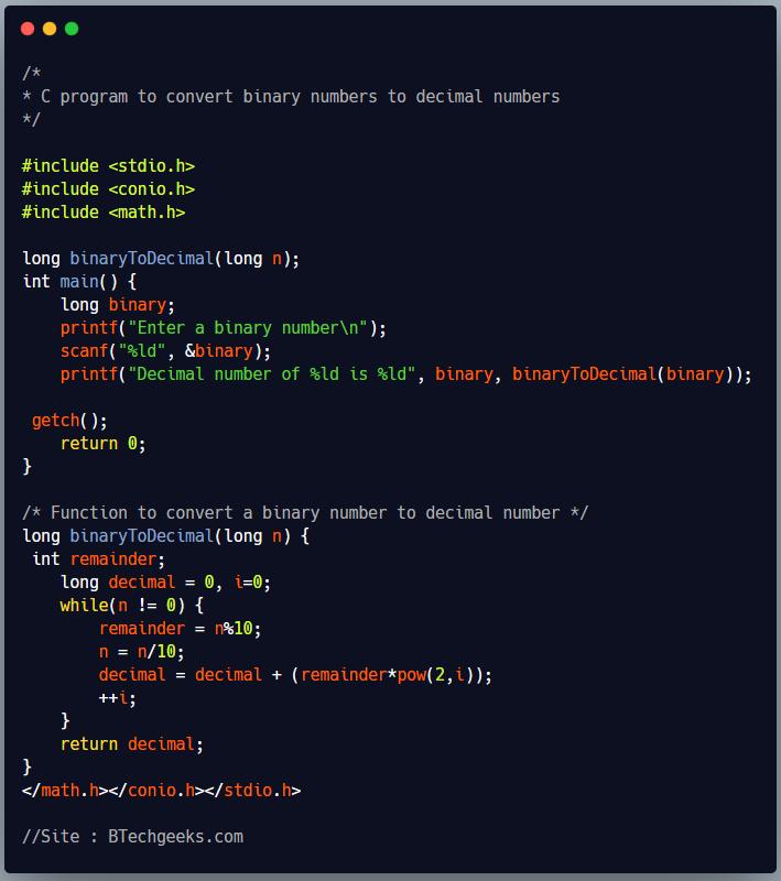 C program to convert binary number to decimal