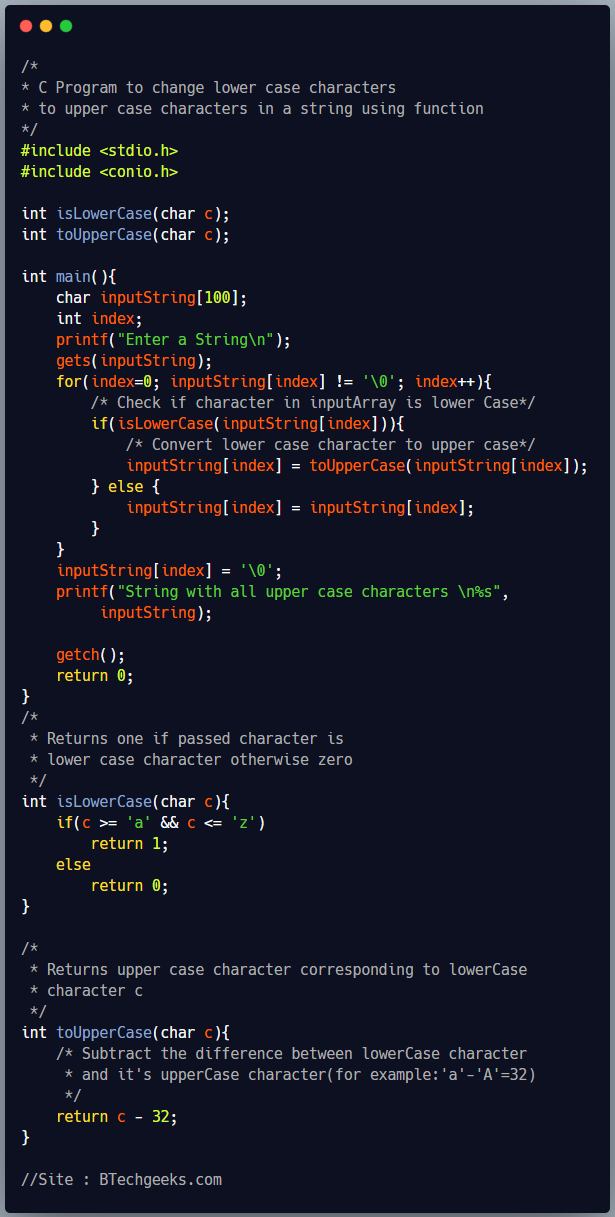 C program to convert lowercase string to uppercase string using user defined function