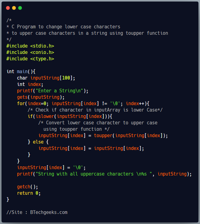 C program to convert lowercase to uppercase using islower and toupper function