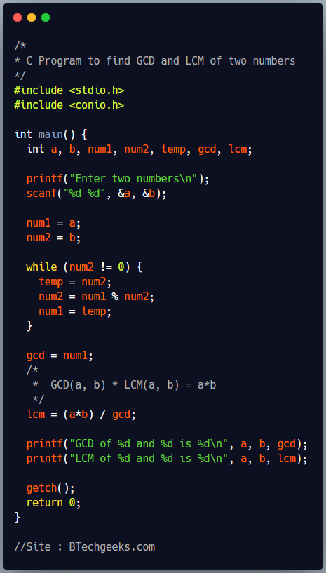 C program to find LCM and HCF of two numbers using loop