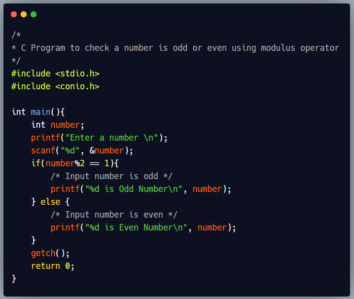 C program to find a number is odd or even using modulus operator
