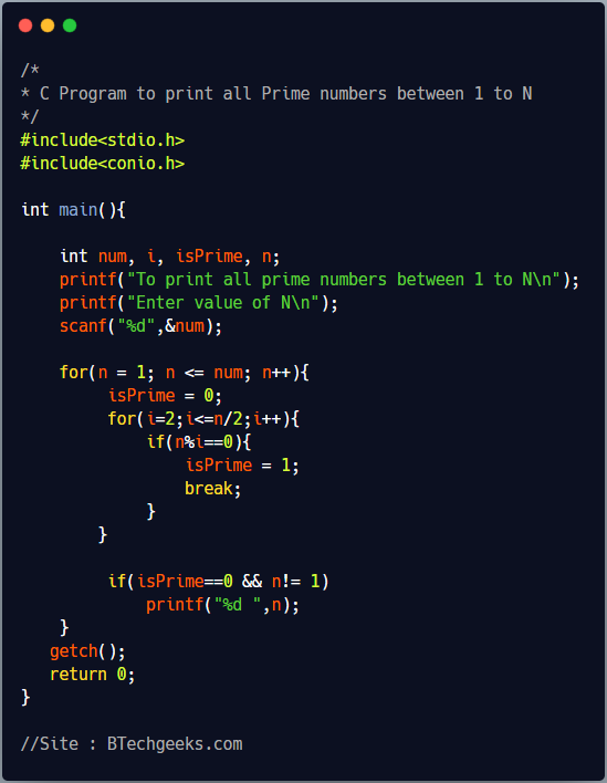 C program to find all prime numbers between 1 to N