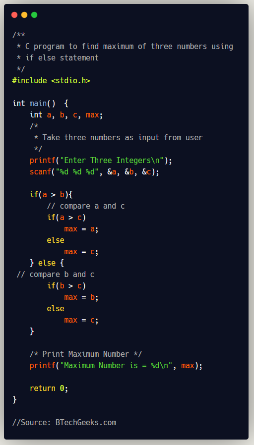 C program to find maximum of three numbers using If Else statement