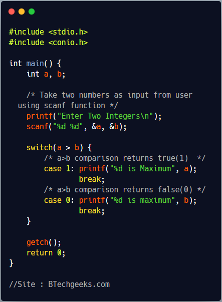 C program to find maximum of two numbers using switch case statement
