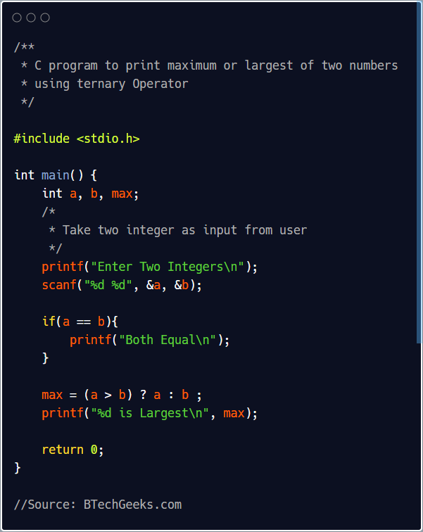 C program to find maximum of two numbers using ternary operator