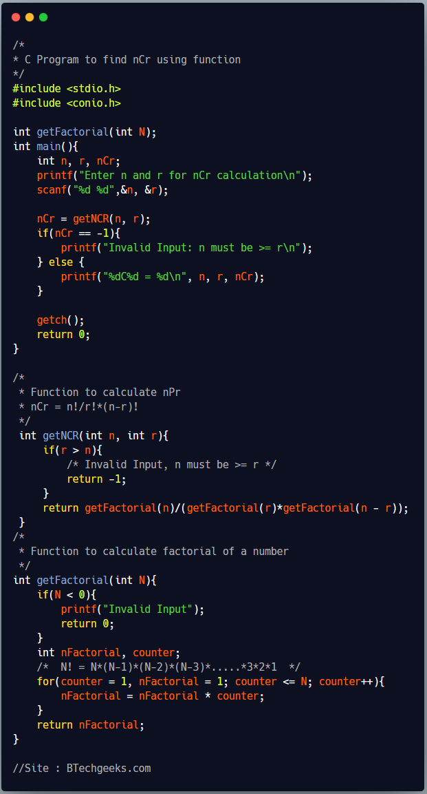 C program to find nCr using a function 1