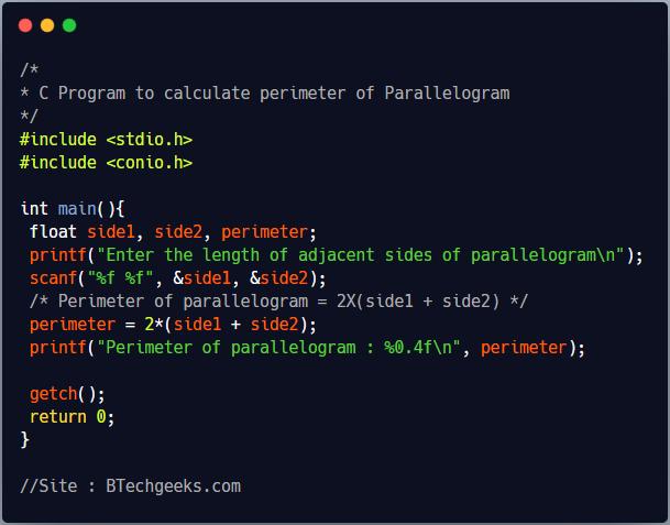 C program to find perimeter of the parallelogram