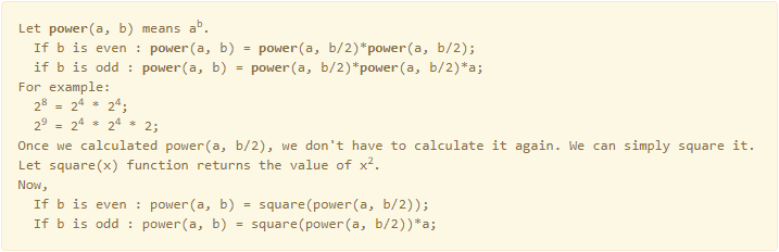 C program to find power of a number using divide and conquer 1