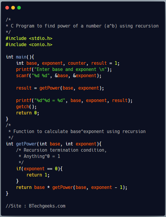 C program to find power of a number using recursion