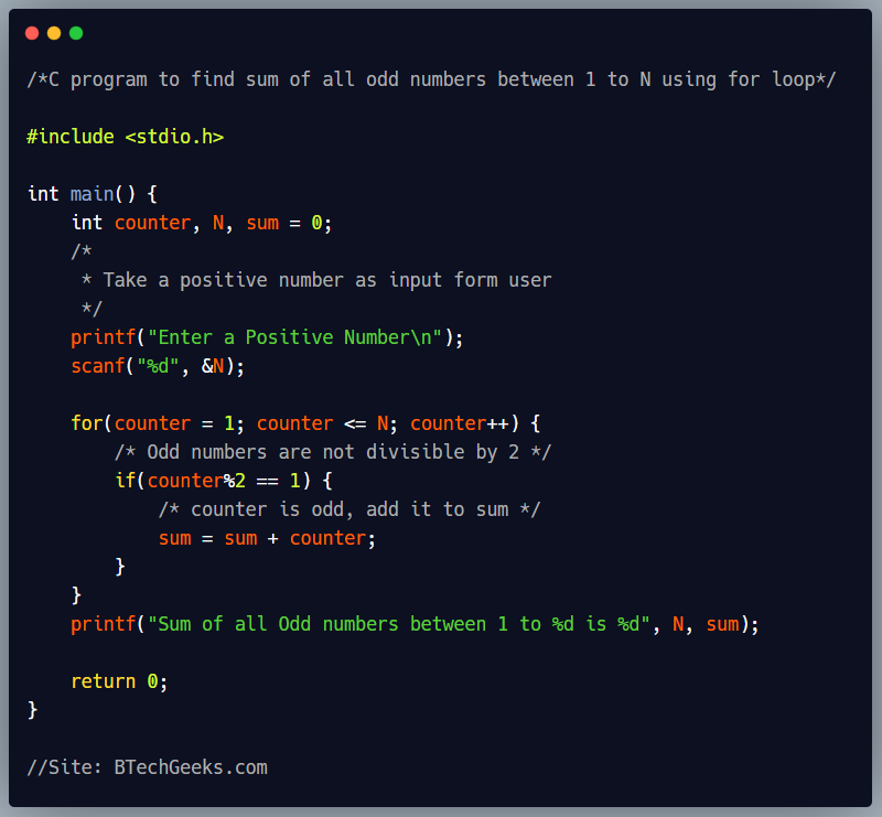 C program to find sum of all odd numbers between 1 to N using for loop