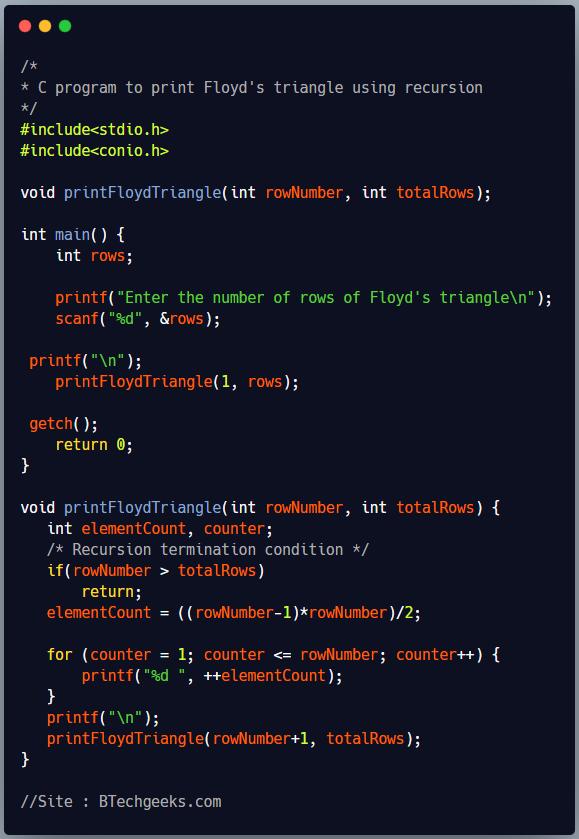 C program to print Floyd's triangle using recursion