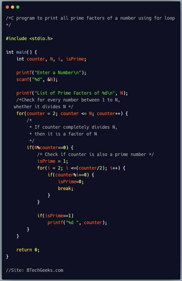 C program to print all prime factors of a number using for loop