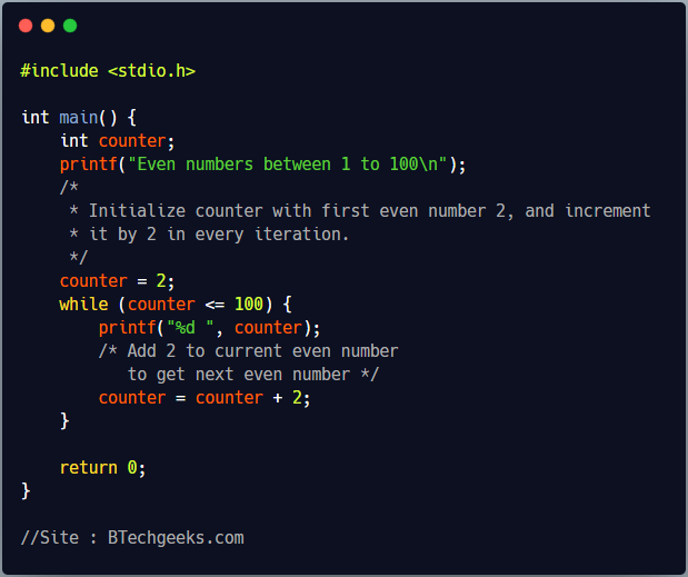 C program to print even numbers from 1 to N using while loop