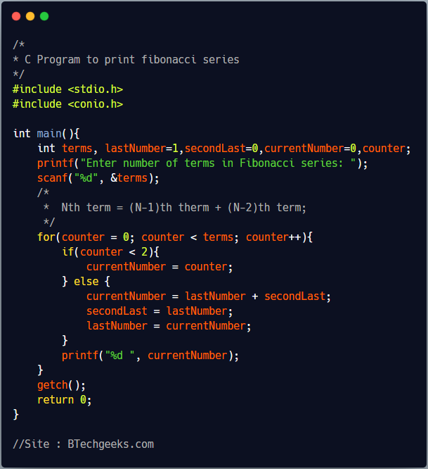 C program to print fibonacci series till Nth term 1