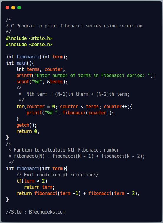 C program to print fibonacci series using recursion 1