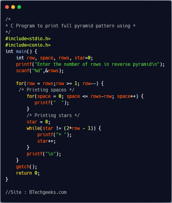 C program to print inverted pyramid pattern using and loop