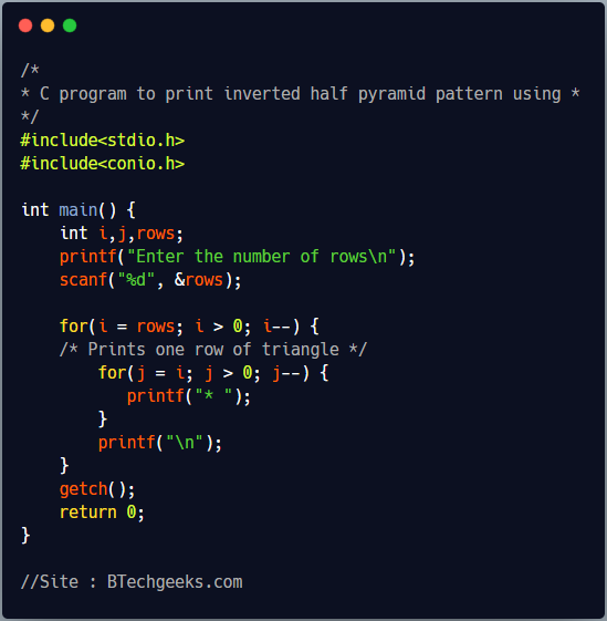 C program to print inverted triangle pattern using * and loop