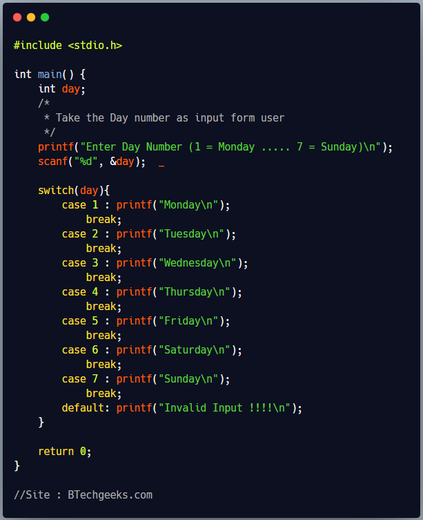 C program to print name of day using switch case statement
