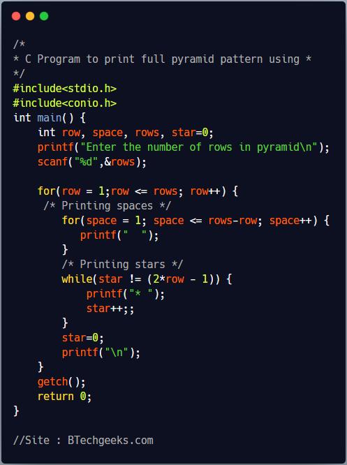 C program to print pyramid pattern using * and loop