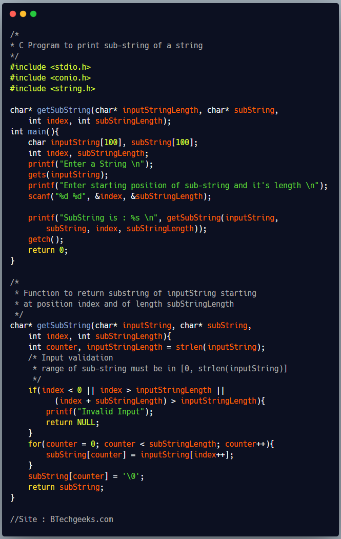 C program to print sub-string of a string using function and pointers
