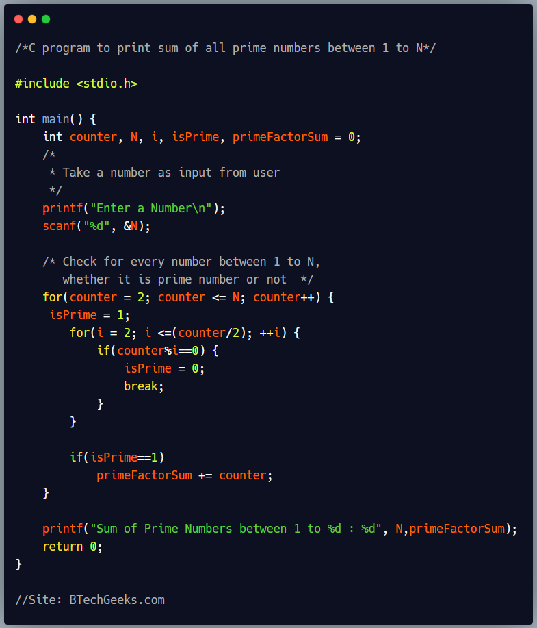 C program to print sum of all prime numbers between 1 to N