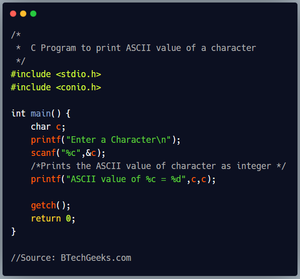 C program to print the ASCII value of a character